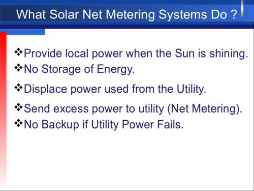 Benefits of Solar Net-Metering Systems
