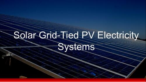 Solar Grid-Tied PV Electricity Systems